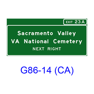 Veterans National Cemetery Sign (NEXT RIGHT(LEFT)) G86-14(CA)