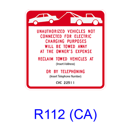 Electric Vehicle Charging Station Tow-Away [symbol] R112(CA)