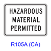 HAZARDOUS MATERIAL PERMITTED R105A(CA)
