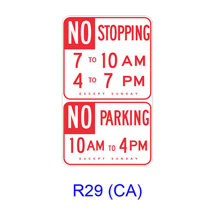 No Stopping/No Parking Specific Hours R29(CA)