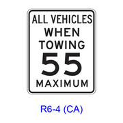 ALL VEHICLES WHEN TOWING __ MAXIMUM R6-4(CA)