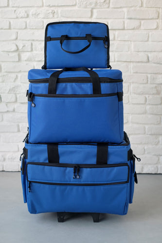 Wheeled Sewing Machine Carrier / Project Bag / Notions Bag Combo - Cobalt Blue