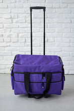 Load image into Gallery viewer, Wheeled Sewing Machine Carrier / Project Bag / Notions Bag Combo - Purple