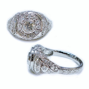 Victorian Style Round Halo Ring - Johnny Jewelry