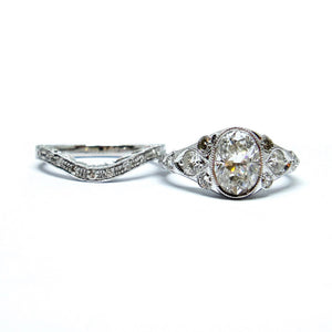 Antique Oval Bridal Set - Johnny Jewelry