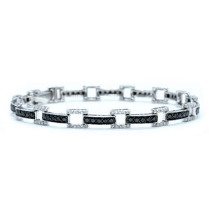 Art Deco Black and White Diamond Bracelet - Johnny Jewelry