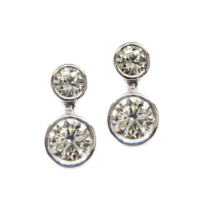 Bezel Set Diamond Drop Earrings - Johnny Jewelry