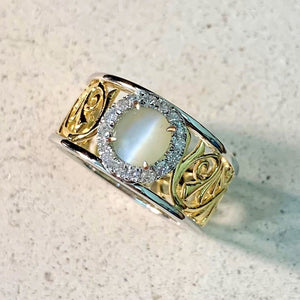 Chrysoberyl Cat's Eye & Diamond Ring