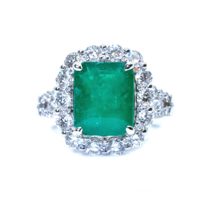 Classic Emerald & Diamond Cocktail Ring - Johnny Jewelry