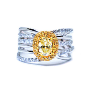 Criss Cross Fancy Yellow Diamond Halo Ring - Johnny Jewelry