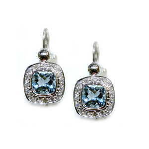 Cushion Halo Aquamarine Drop Earrings - Johnny Jewelry