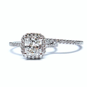 Cushion Halo with Wedding Band - Johnny Jewelry