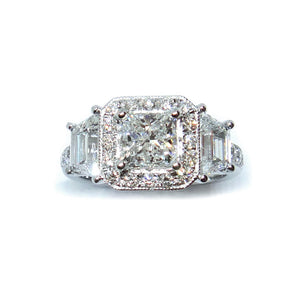 Trapezoid Side Diamond Princess Halo - Johnny Jewelry