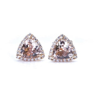 Trillion Morganite & Diamond Halo Studs - Johnny Jewelry