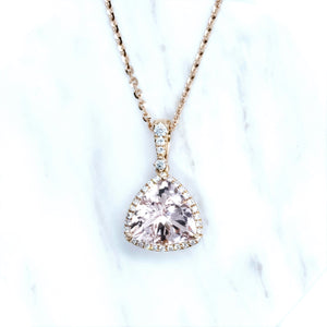 Trillion Morganite & Diamond Halo Pendant - Johnny Jewelry