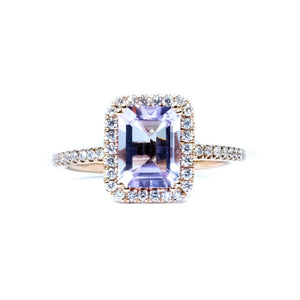 Emerald Cut Pink Amethyst & Diamond Halo Ring