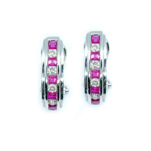 Channel Set Ruby & Diamond Hoop Earrings