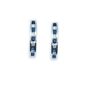Channel Set Sapphire & Diamond Huggie Hoop Earrings - Johnny Jewelry