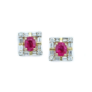 Art Deco Ruby & Diamond Halo Earrings