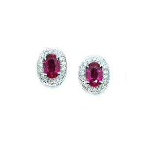Ruby & Pave Diamond Halo Studs