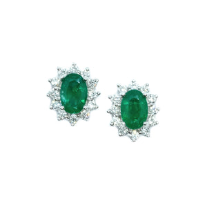 Classic Emerald & Diamond Earrings - Johnny Jewelry