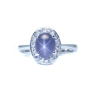 Blue Star Sapphire Pave Diamond Halo Ring