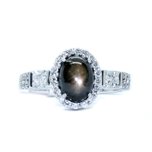 Black Star Sapphire & Diamond Halo Ring