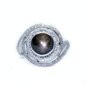 Galaxy Black Star Sapphire & Diamond Ring - Johnny Jewelry