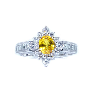Starburst Yellow Sapphire & Diamond Ring