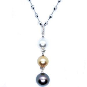 Tri-color South Sea Pearl & Diamond Pendant - Johnny Jewelry
