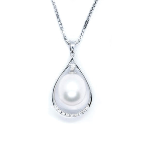 Raindrop Freshwater Pearl & Diamond Pendant - Johnny Jewelry