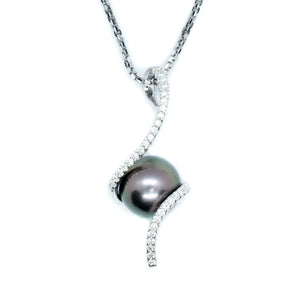 Swirl Black South Sea Pearl & Diamond Pendant - Johnny Jewelry