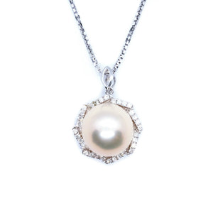 Fleur Natural Peach Pearl & Diamond Halo Pendant