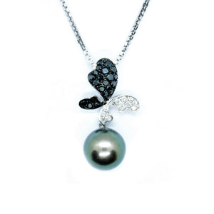 Black South Sea Pearl & Black and White Diamond Butterfly Pendant - Johnny Jewelry