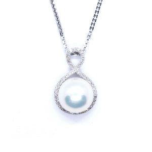 Infinity Pearl & Diamond Pendant - Johnny Jewelry