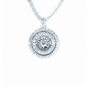 Double Halo Diamond in Motion Pendant