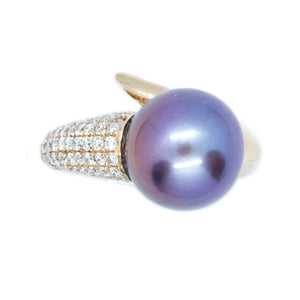 Swirl Purple Pearl & Diamond Ring