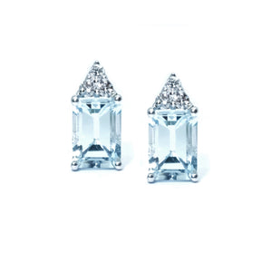 Emerald Cut Aquamarine & Diamond Studs - Johnny Jewelry