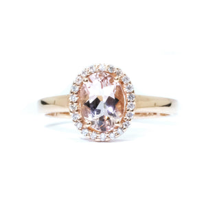 Morganite & Diamond Halo Ring - Johnny Jewelry