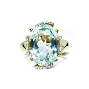 Green Amethyst & Diamond Ring - Johnny Jewelry
