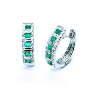 Channel Emerald & Diamond Huggie Hoops - Johnny Jewelry