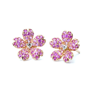 Pink Sapphire Cherry Blossom Earrings