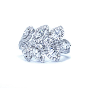 Oak Leaf Marquise Diamond Ring - Johnny Jewelry