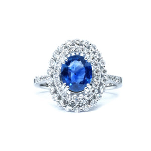 Vintage Style Sapphire & Diamond Ring - Johnny Jewelry