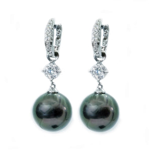Diamond Huggies with Black South Sea Pearl Drops - Johnny Jewelry