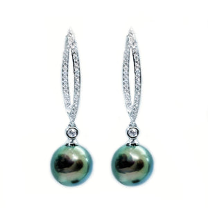 Pave Loop South Sea Pearl & Diamond Earrings - Johnny Jewelry