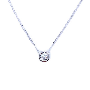 Dainty Bezel Set Diamond Necklace