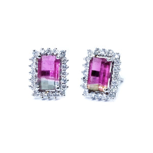 Classic Watermelon Tourmaline & Diamond Earrings - Johnny Jewelry