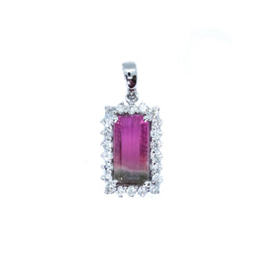 Classic Watermelon Tourmaline & Diamond Pendant - Johnny Jewelry