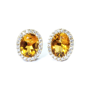 Classic Citrine & Diamond Earrings - Johnny Jewelry